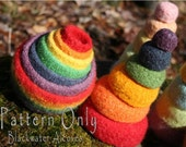 Felted Rainbow Nesting Stacking Bowls - CROCHET PATTERN only - Montessori Waldorf inspired, Great as toy or for organizing catch-all bowls