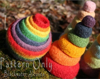 Felted Rainbow Nesting & Stacking Bowls - CROCHET PATTERN only - Montessori/Waldorf inspired, Great as toy or for organizing/catch-all bowls