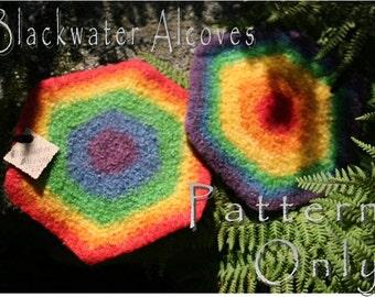 Felted Rainbow Coaster & Trivet Set - CROCHET PATTERN only