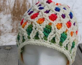 RTS Gita Hat, rainbow ready to ship CrocheTrend crochet cable