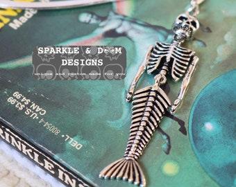 Mermaid Skeleton Bookmark, goth bones
