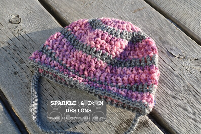 2e8cb5fd6 RTS Pink & Grey Striped Hat 12- 24 months Size, Ready To Ship crochet  handmade toddler baby