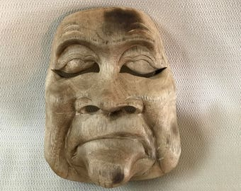 Wooden Asian Theater  Mask Wall Art #3  Wood Hand Carved 3 Dimensional OOAK Folk Art
