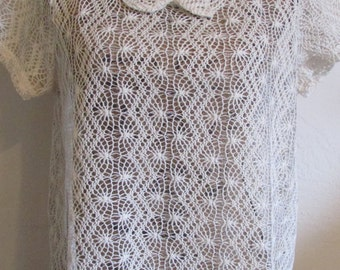 Beautiful Ivory Cream Crocheted Crochet Mesh Blouse Top  **Free USA Shipping**