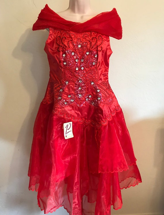 Vintage Red Party Cocktail Dress ~ Primadonna ~  P