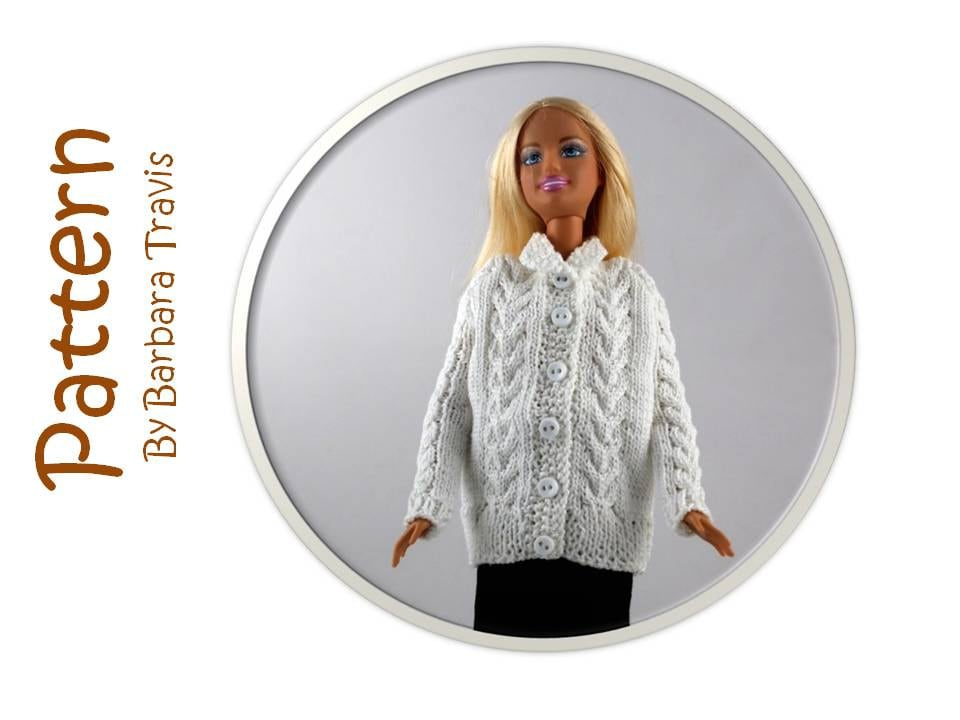 efe995bcf8771d Knitting Pattern for 11 1 2 inch Doll Cardigan Barbie Sweater