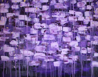 Umeko - Abstract, Beautiful, Original, Acrylic, Painting, Purple, Ultra Violet, Gold Leaf, Glitter, Large, Contemporary, Layered, Canvas