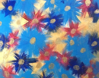 Lana - Epoxy Resin, Acrylic, Painting, Beautiful, Sparkling, Blue, Magenta, Indigo, Pink, and Gold, Pattern, Floral, Luxury, Rich, Art