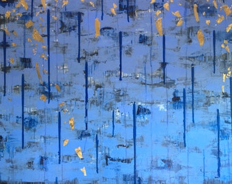 Ciel - Abstract, Beautiful, Original, Acrylic, Painting, Blue, Gold Leaf, Glitter, Large, Contemporary,  Layered, Canvas, Art, 48x48