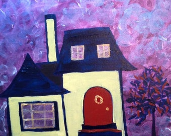 House Painting - French Dream House - Beautiful, Romantic, Colorful, Architecture Fantasy Art