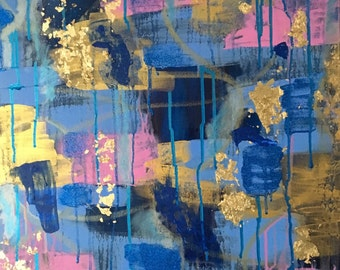 Masumi - Beautiful, Abstract, Original, Acrylic, Painting, Canvas, Gold Leaf, Tapestry, Blue, Pink, Rose Quartz, Serenity Blue, Gift, Art