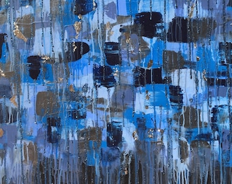 Penny -Beautiful, Abstract, Original, Painting, Tapestry, Cerulean Blue, Blue Violet, Black, Silver Leaf, Modern, Pattern, Contemporary, Art