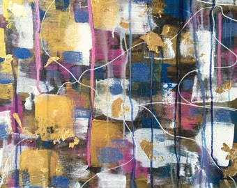 Elise - Beautiful, Abstract, Original, Acrylic, Painting, Canvas, Gold Leaf, Tapestry, Blue, Pink, White, Gold, Black, Layered, Gift, Art