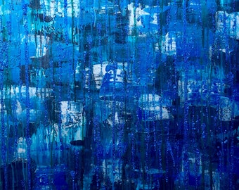 Robert - Abstract, Large, Beautiful, Painting, Modern, Acrylic, Blue, Greenish Blue, Silver, Glitter, Contemporary, Wall Decor, Layer, Art