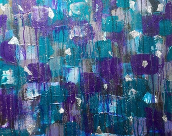 Jake - Beautiful, Abstract, Original, Acrylic, Canvas, Painting, Tapestry, Purple, Turquose, Silver Leaf, Glitter, Pattern, Modern, Art