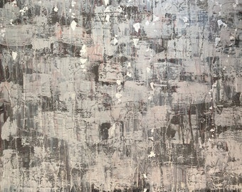 Elizabeth -Abstract, Large, Beautiful, Painting, Modern, Acrylic, Canvas, Silver, Red, Glitter, Contemporary, Wall Decor, Layer, Art