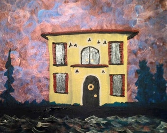 House Painting -Venetian Dream House - Beautiful, Romantic, Colorful, Architecture Fantasy Art