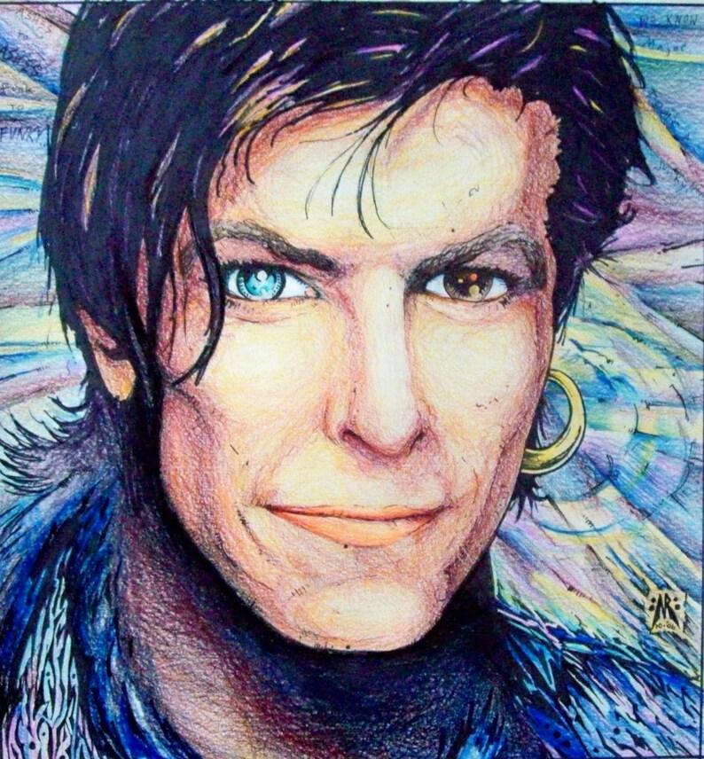 David Bowie Portrait original mixed media portrait drawing
