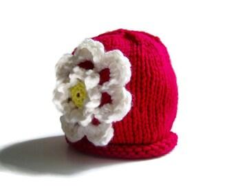 6a981e8cd21 Baby FLOWER Hat - knit baby girl hat - girl s winter hat - knitted baby hat  - knitted girl s hat - baby shower gift - gift for girl