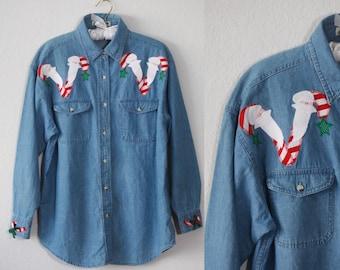 Holiday Editions Fall Leaves Denim Shirt.-W9.
