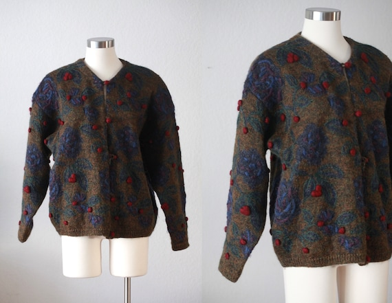 80s Mohair knitted botanical Cardigan - Express Tr