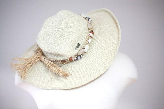 Beaded Straw Hat |  Floppy Sun Hat