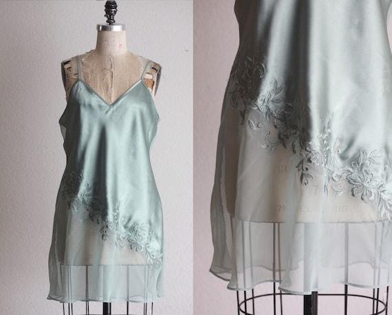 Sage green sheer back slip dress