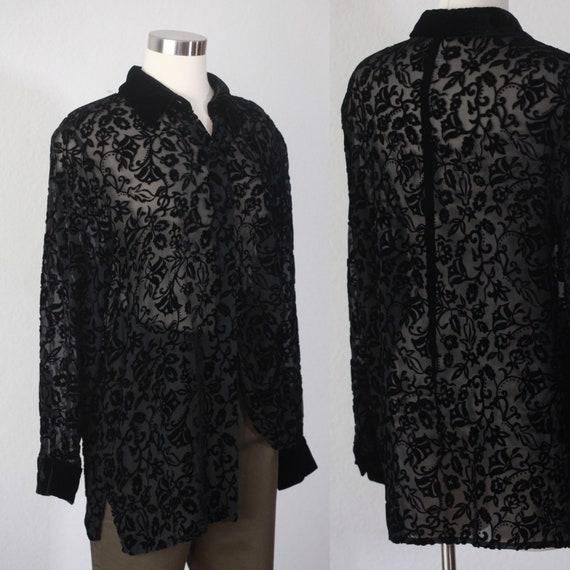 black silk velvet floral sheer blouse