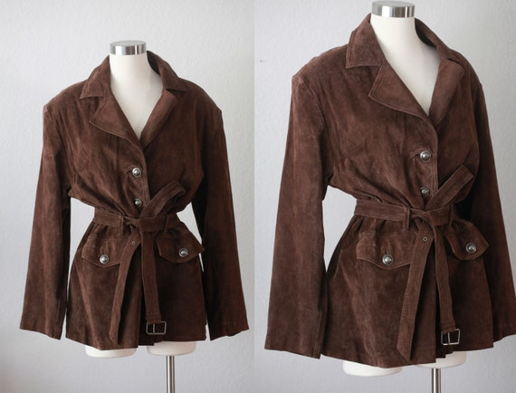 Brown Real Leather Parka Jacket with Belt - Jacque