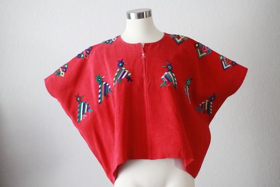 Red Cotton Guatemalan Huipil - Geometric birds
