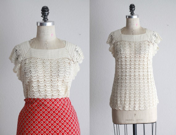 Hand crocheted cream lace blouse