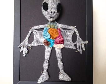 Knitted Alien Autopsy: Framed with Black Background