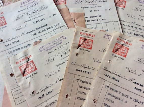 Collection of 8 Original 1930\u2019s  French Receipts Bill Restaurant Papers Journal Accessories Scrapbook