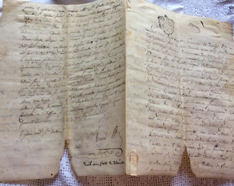 Stunning Vellum  1777 French Antique Handwritten Parchment Papers Letter Stamp Old Paper Ephemera