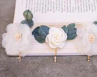 Flower Hair Pin Set, Flower Hair Comb, Bridal Hair Pieces, Eucalyptus Bridal Hair, Wedding Flower Pins, Wedding Hair Accessory, Greenery