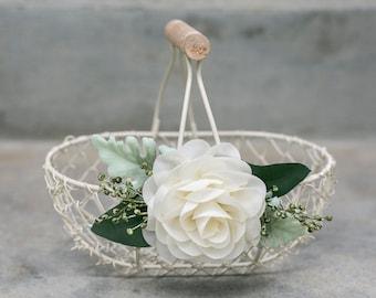Rustic Flower Girl Basket   Small Flower Girl Gift   Rustic Wire Basket   Barn Wedding Basket   Petite or Large Ivory Basket   Ivory Flower