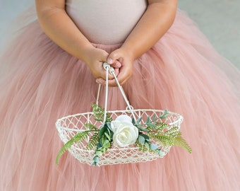 Flower Girl Basket   Rustic Flower Girl Basket   Wire Wedding Basket   Wedding Card Basket   Flower Girl Gift Set   Basket + Pillow Set
