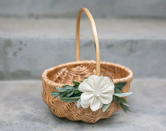 Flower Girl Basket | Willow Wedding Basket | Romantic Wicker Basket | Small Flower Girl Basket | Gift Basket w/ Greenery | Decorated Basket