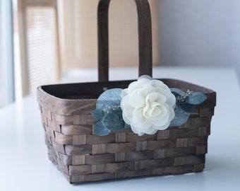 SALE • Woven Woodchip Flower Girl Basket | Sale Basket | Flower Girl Basket | Wedding Decor | Gift Basket | Easter Gift Basket