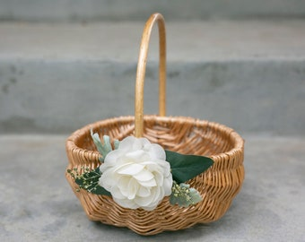 Flower Girl Basket | Willow Wedding Basket | Rustic Wicker Basket | Small Flower Girl Basket | Gift Basket w/ Greenery | Decorated Basket