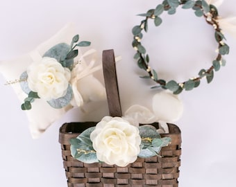 cfd0b4e35be9 Matching Flower Girl Basket, Ring Pillow, + Greenery Crown Set | Boho Wood  Flower Basket with Eucalyptus and Greenery | Floral Crown/Halo