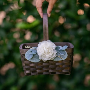 Two sizes bohemian wedding rustic flower girl basket barn wedding, farmhouse chic bohemian wedding decor flower girl basket birch