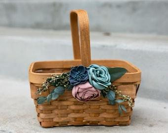 Flower Girl Basket | Wood Wedding Basket | Eucalyptus Wedding Decor | Moody Boho Flower Girl Basket | Flower Girl Gift Set | Rustic Basket