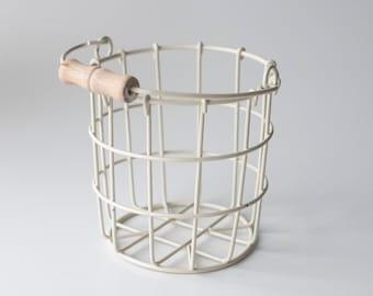 SALE • Imperfect Ivory Flower Girl Basket   Wire Flower Girl Pail   Petite Metal Basket   Wire Pail   Small Metal Basket