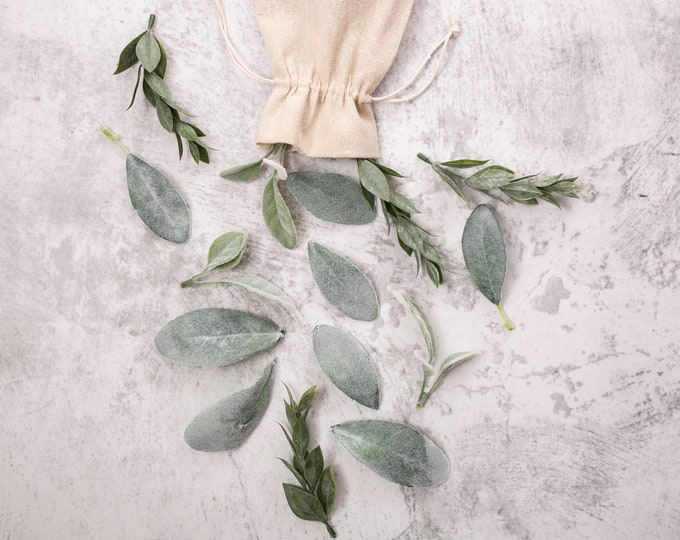 Featured listing image: Loose Faux Greenery Bundle | Toss Petal Leaves | Table Styling Leaves and Branches | Photo Prop Faux Greenery | Lambs Ear | Italian Ruscus