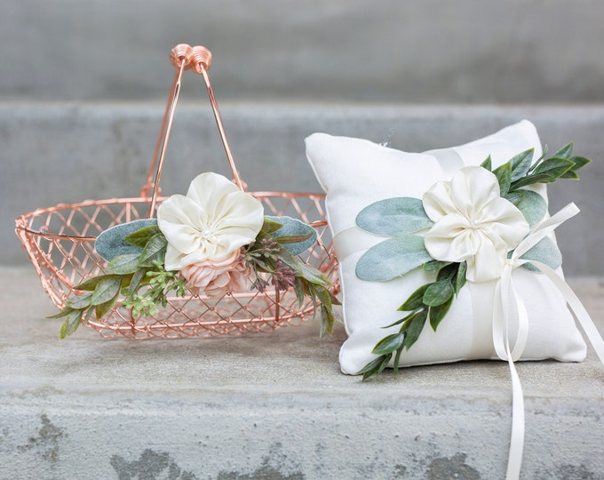 Featured listing image: Flower Girl Basket and Ring Pillow Set | Rose Gold Flower Girl | Blush & Greenery Wedding Basket | Petal Basket | Gift | Rose Gold Wedding