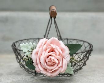 Flower Girl Basket | Rustic Wire Basket | Barn Wedding Basket for Small Flower Girl | Country Chic Gift | Choose Blush or Ivory Flower