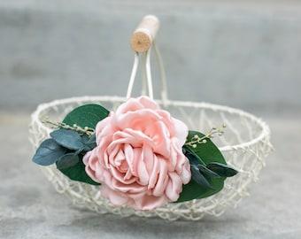 Flower Girl Basket | Barn Wedding Flower Girl Gift | Ivory Petal Basket | Garden Flower Basket | Pink or Ivory Wedding Decor
