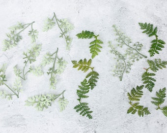 Loose Faux Greenery Bundle | Toss Petal Leaves | Table Styling Leaves and Branches | Photo Prop Faux Greenery | Delicate Fern Pieces
