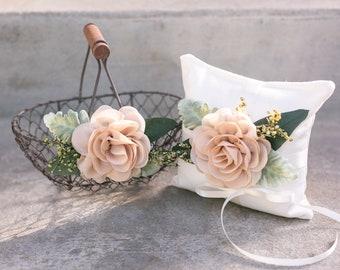 Flower Girl Basket and Ring Bearer Pillow Set | Ivory Wedding Basket | Simple Flower Crown | Flower Girl Set | Boho Wedding | Ring Pillow
